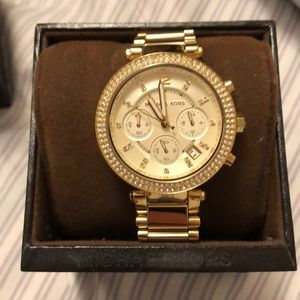 Michael Kors Accessories - Micheal Kors Gold Rhinestone Watch (women)